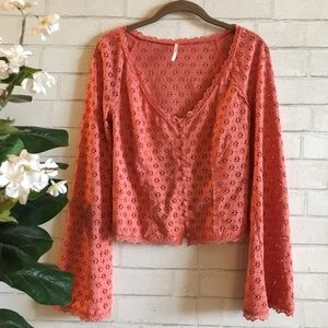 FREE PEOPLE Eyelet Blouse Bell Sleeves + Buttons